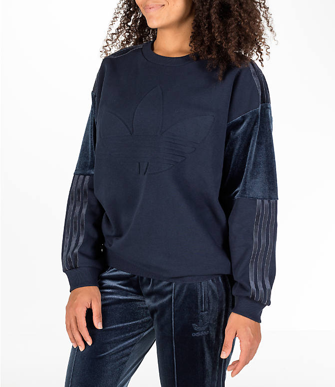 Front Three Quarter view of Women's adidas Originals Flock Sweater in Legend Ink
