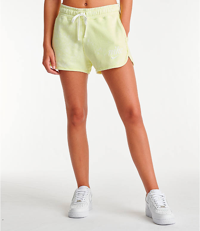 Front view of Women's Nike Sportswear Shorts in Luminous Green/Summit White