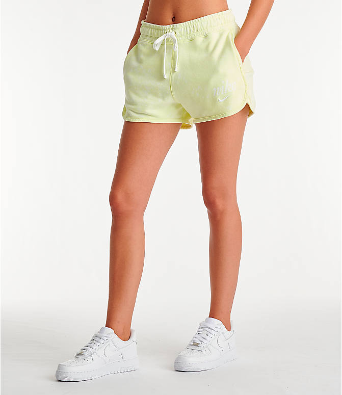 Front Three Quarter view of Women's Nike Sportswear Shorts in Luminous Green/Summit White