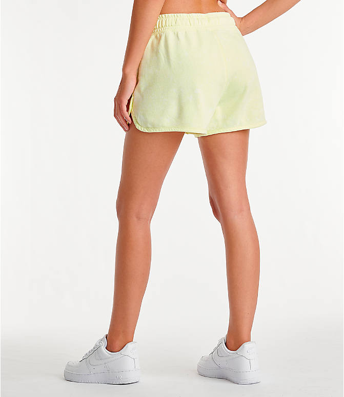 Back Left view of Women's Nike Sportswear Shorts in Luminous Green/Summit White