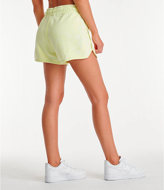 Back Right view of Women's Nike Sportswear Shorts in Luminous Green/Summit White