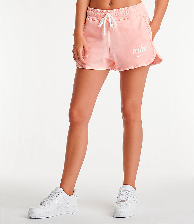 Front view of Women's Nike Sportswear Shorts in Bleached Coral/Summit White