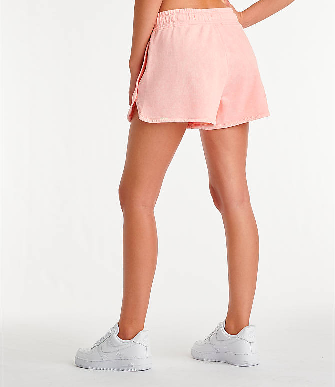 Back Left view of Women's Nike Sportswear Shorts in Bleached Coral/Summit White