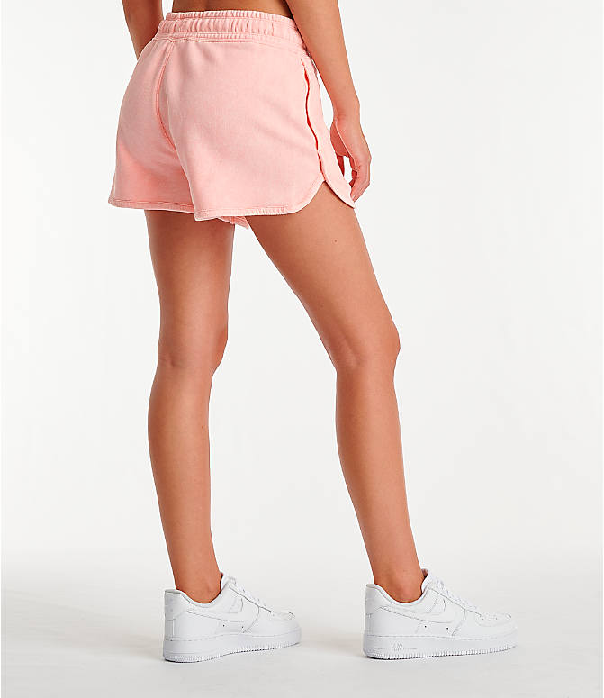 Back Right view of Women's Nike Sportswear Shorts in Bleached Coral/Summit White