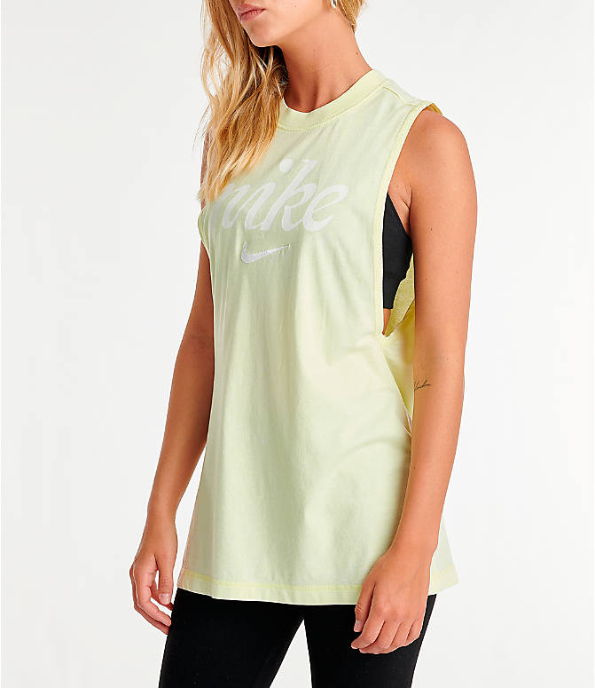Front Three Quarter view of Women's Nike Sportswear Vintage Wash Tank in Luminous Green/Summit White