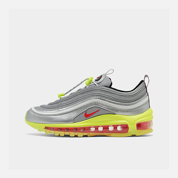 Right view of Big Kids' Nike Air Max 97 RFT Casual Shoes in Metallic Silver/Red Orbit/Volt/Black