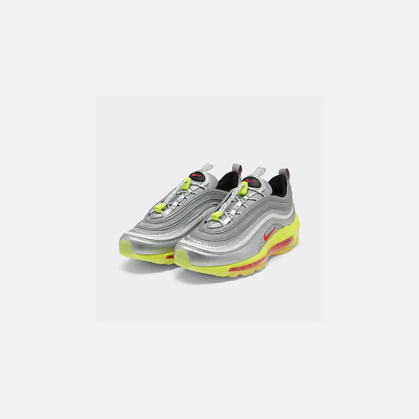 Three Quarter view of Big Kids' Nike Air Max 97 RFT Casual Shoes in Metallic Silver/Red Orbit/Volt/Black
