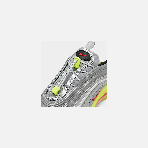 Front view of Big Kids' Nike Air Max 97 RFT Casual Shoes in Metallic Silver/Red Orbit/Volt/Black