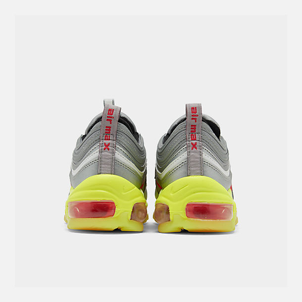 Left view of Big Kids' Nike Air Max 97 RFT Casual Shoes in Metallic Silver/Red Orbit/Volt/Black