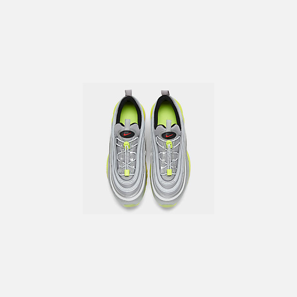 Back view of Big Kids' Nike Air Max 97 RFT Casual Shoes in Metallic Silver/Red Orbit/Volt/Black