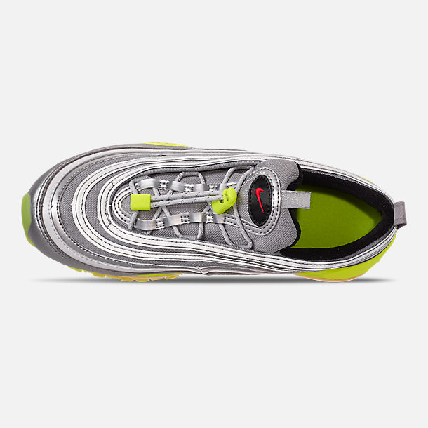 Top view of Big Kids' Nike Air Max 97 RFT Casual Shoes in Metallic Silver/Red Orbit/Volt/Black
