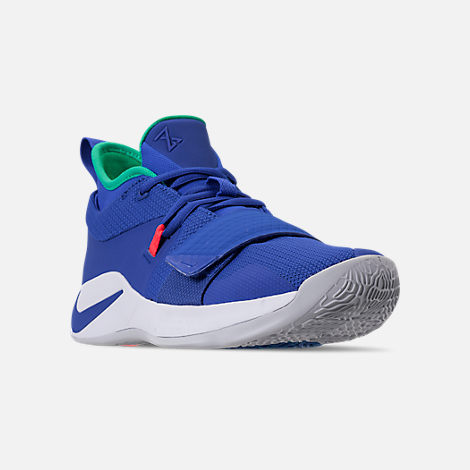 Three Quarter view of Men's Nike PG 2.5 Basketball Shoes in Racer Blue/White