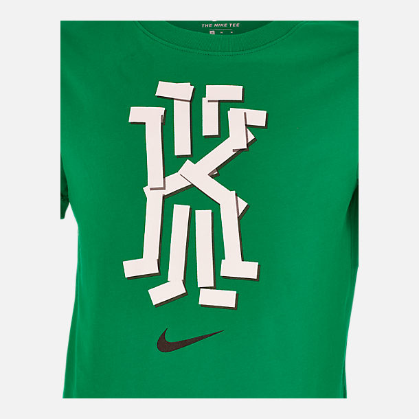 Back view of Boys' Nike Dri-FIT Kyrie Basketball T-Shirt in Lucid Green/Cool Grey