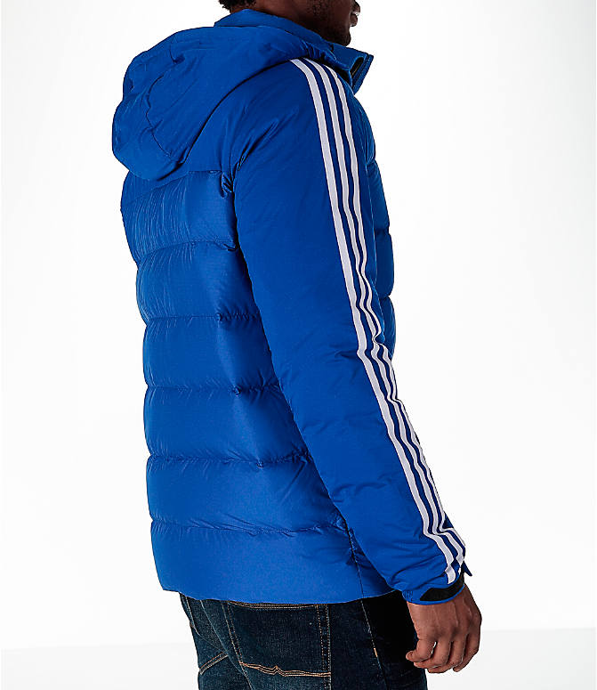 Back Right view of Men's adidas Itavic 3-Stripe Jacket in Royal/White