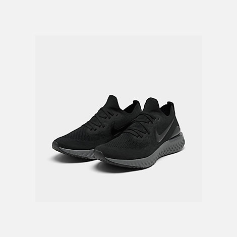 73d98f37128 Three Quarter view of Women s Nike Epic React Flyknit 2 Running Shoes in  Black Black