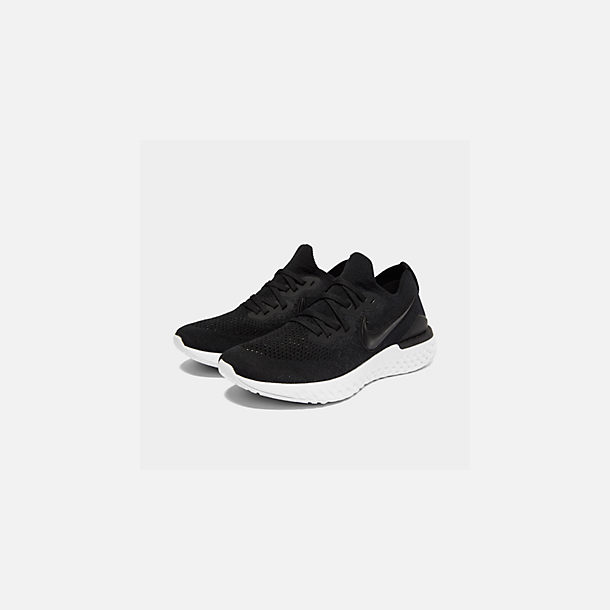 Three Quarter view of Women's Nike Epic React Flyknit 2 Running Shoes in Black/Black/Anthracite/Gunsmoke/White