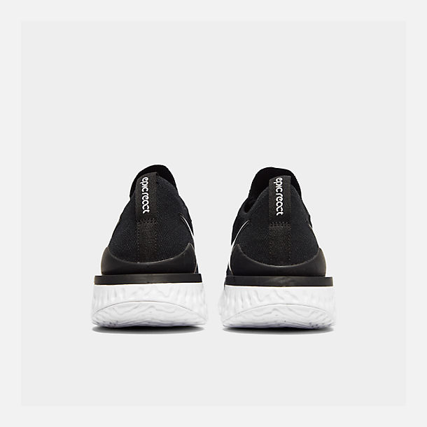 Left view of Women's Nike Epic React Flyknit 2 Running Shoes in Black/Black/Anthracite/Gunsmoke/White