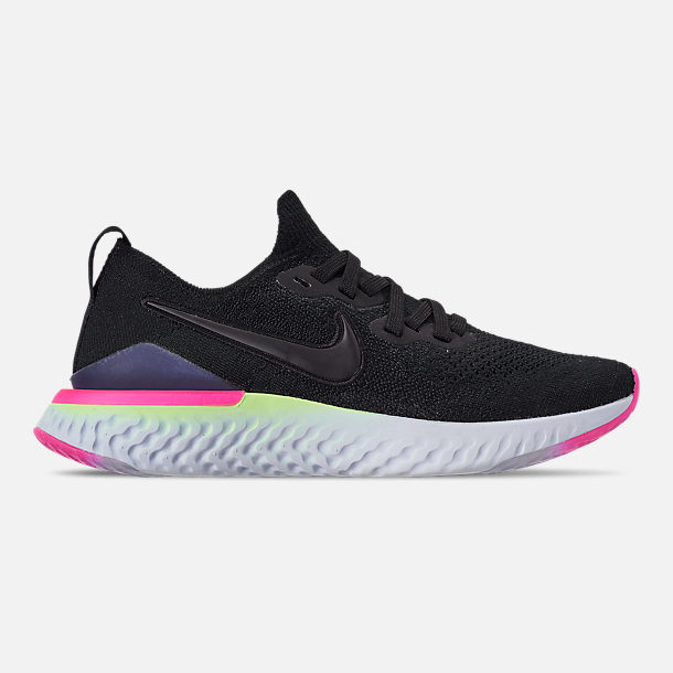 87c761c0af9b Right view of Women's Nike Epic React Flyknit 2 Running Shoes in  Black/Black/