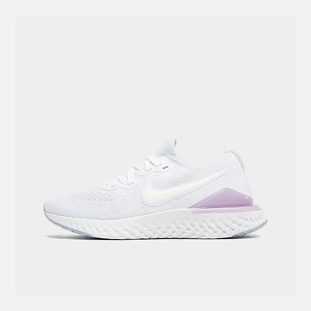 Right view of Women's Nike Epic React Flyknit 2 Running Shoes in White/White/Pink Foam