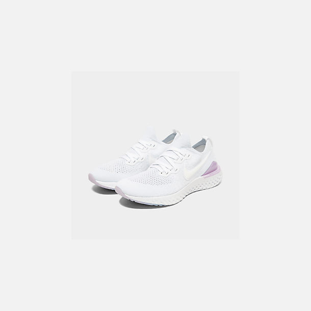 Three Quarter view of Women's Nike Epic React Flyknit 2 Running Shoes in White/White/Pink Foam