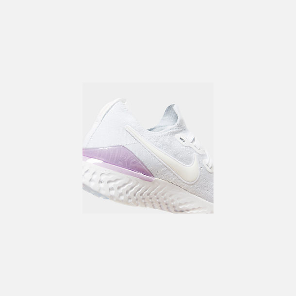 Front view of Women's Nike Epic React Flyknit 2 Running Shoes in White/White/Pink Foam