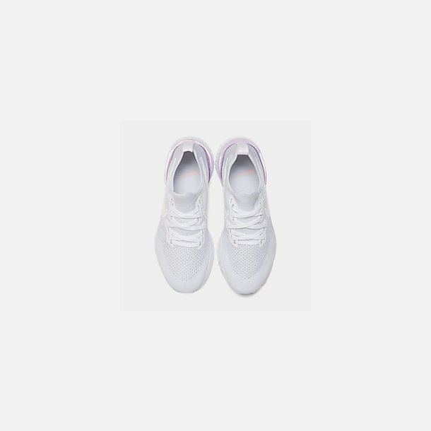 Back view of Women's Nike Epic React Flyknit 2 Running Shoes in White/White/Pink Foam