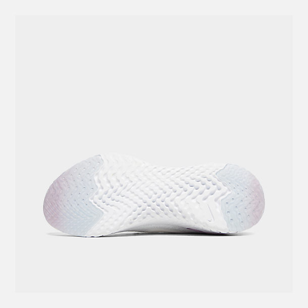 Bottom view of Women's Nike Epic React Flyknit 2 Running Shoes in White/White/Pink Foam