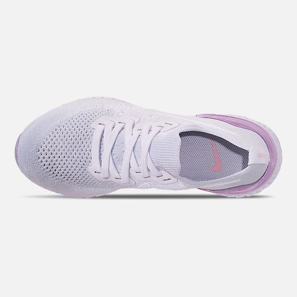 Top view of Women's Nike Epic React Flyknit 2 Running Shoes in White/White/Pink Foam