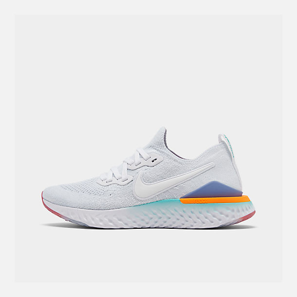 Right view of Women's Nike Epic React Flyknit 2 Running Shoes in White/White/Hyper Jade/Ember Glow
