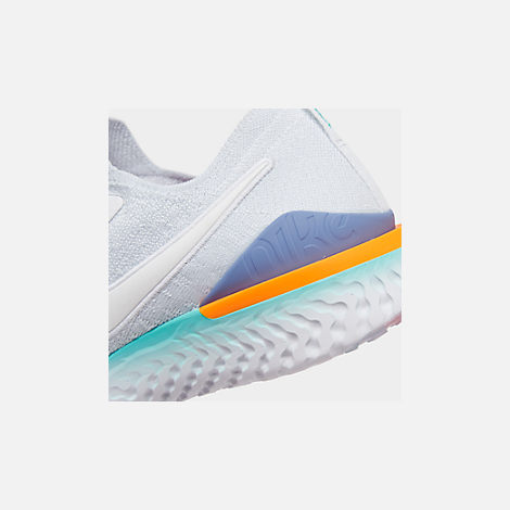 Front view of Women's Nike Epic React Flyknit 2 Running Shoes in White/White/Hyper Jade/Ember Glow