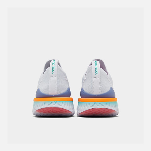 Left view of Women's Nike Epic React Flyknit 2 Running Shoes in White/White/Hyper Jade/Ember Glow