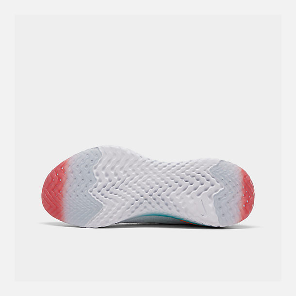 Bottom view of Women's Nike Epic React Flyknit 2 Running Shoes in White/White/Hyper Jade/Ember Glow