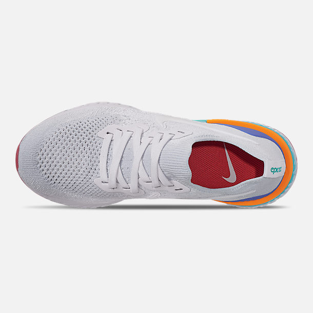 Top view of Women's Nike Epic React Flyknit 2 Running Shoes in White/White/Hyper Jade/Ember Glow