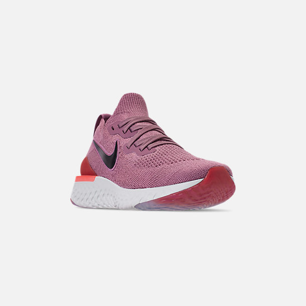 Three Quarter view of Women's Nike Epic React Flyknit 2 Running Shoes in Plum Dust/Ember Glow
