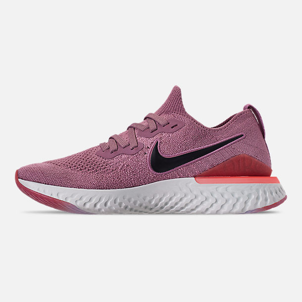 Left view of Women's Nike Epic React Flyknit 2 Running Shoes in Plum Dust/Ember Glow