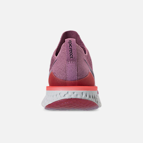 Back view of Women's Nike Epic React Flyknit 2 Running Shoes in Plum Dust/Ember Glow