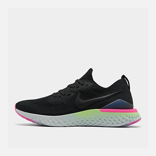 d2654b8a2cb Right view of Men s Nike Epic React Flyknit 2 Running Shoes in Black Black  Sapphire