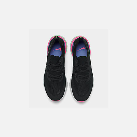 66a73bd468a734 Back view of Men s Nike Epic React Flyknit 2 Running Shoes in Black Black  Sapphire
