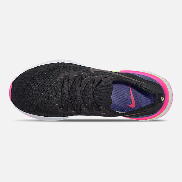 557c090502190c Top view of Men s Nike Epic React Flyknit 2 Running Shoes in Black Black  Sapphire