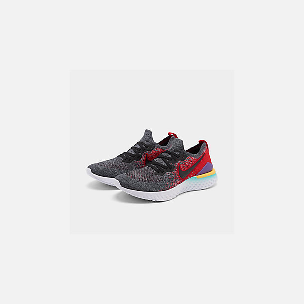 85d2a5f8a0c9 Three Quarter view of Men's Nike Epic React Flyknit 2 Running Shoes in  Black/Black