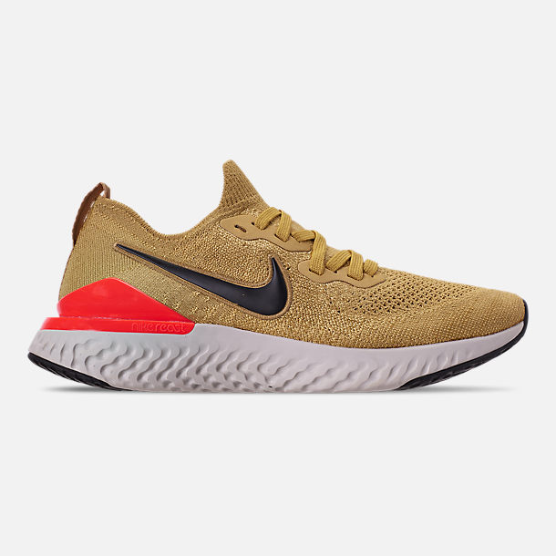 Right view of Men's Nike Epic React Flyknit 2 Running Shoes in Club Gold/Metallic Gold/Black/Red Orbit