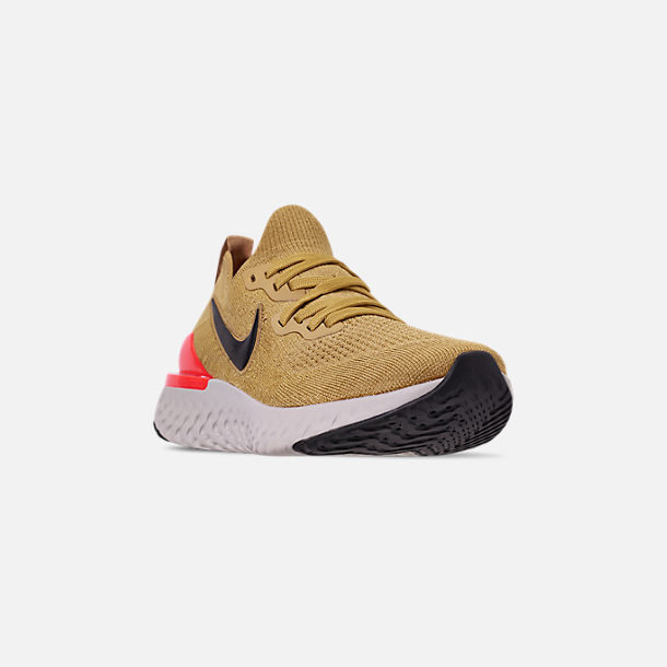 Three Quarter view of Men's Nike Epic React Flyknit 2 Running Shoes in Club Gold/Metallic Gold/Black/Red Orbit