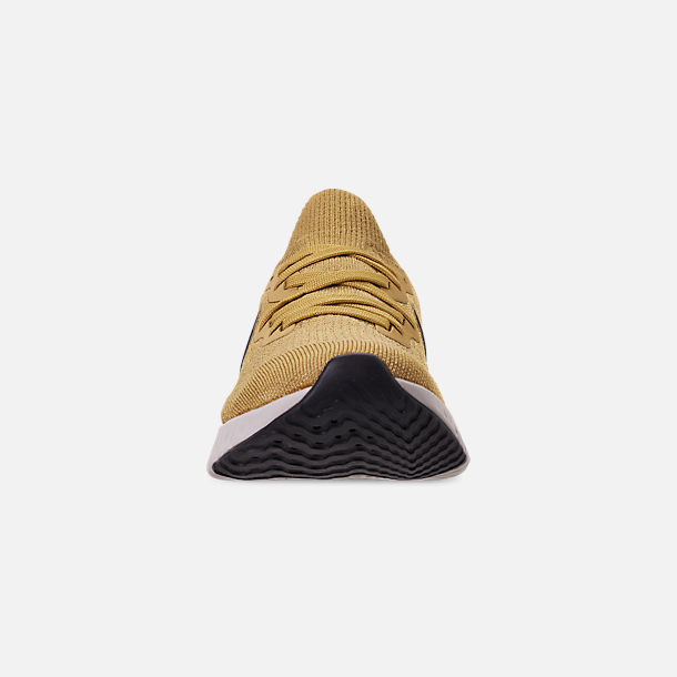 Front view of Men's Nike Epic React Flyknit 2 Running Shoes in Club Gold/Metallic Gold/Black/Red Orbit