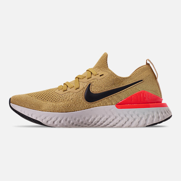 Left view of Men's Nike Epic React Flyknit 2 Running Shoes in Club Gold/Metallic Gold/Black/Red Orbit