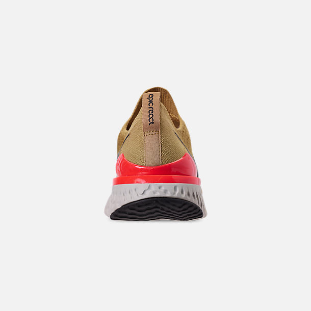 Back view of Men's Nike Epic React Flyknit 2 Running Shoes in Club Gold/Metallic Gold/Black/Red Orbit