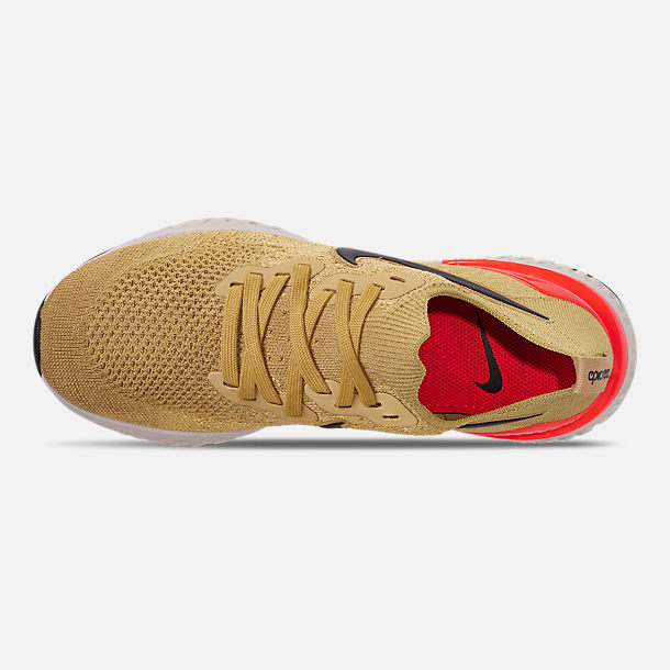 Top view of Men's Nike Epic React Flyknit 2 Running Shoes in Club Gold/Metallic Gold/Black/Red Orbit