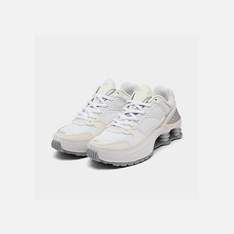 Three Quarter view of Women's Nike Shox Enigma Casual Shoes in Phantom/Metallic Silver/White/Pale