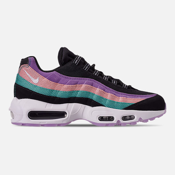 Right view of Men's Nike Air Max 95 ND Casual Shoes in Black/White/Hyper Jade/Bleached Coral