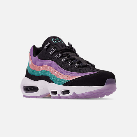 Three Quarter view of Men's Nike Air Max 95 ND Casual Shoes in Black/White/Hyper Jade/Bleached Coral