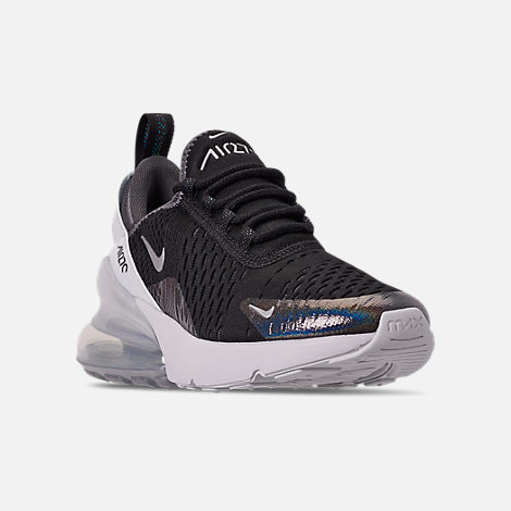 Three Quarter view of Boys' Big Kids' Nike Air Max 270 Y2K Casual Shoes in Black/Metallic Silver/Dark Grey